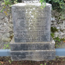 GRAVE 3B  - Inscription on Grave of Dolly family, Dangan, Patrick, Kathleen, Catherine, Annie and Thomas | Bernadette Forde, Killererin Heritage Society