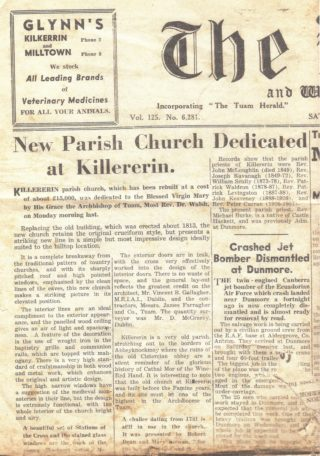 Tuam Herald article of Saturday, 8th September, 1962 re the dedication of St. Mary's Church, Killererin  | Murgeal Fahy