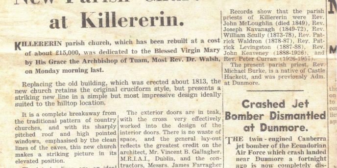 Dedication of St. Mary's Church, Killererin in 1962