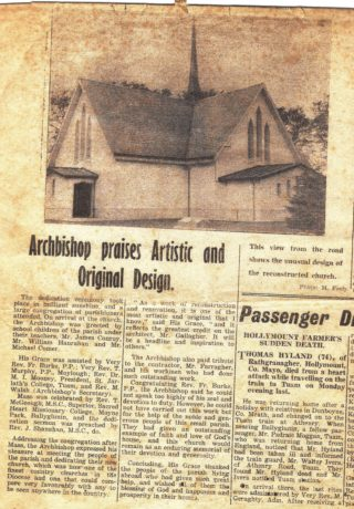 1962 Tuam Herald article re the dedication of St. Mary's Church, Killererin by Archbishop of Tuam | Murgeal Fahy