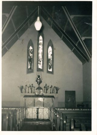 Altar before the changes made under parish priest Fr. Waldron. Note the altar rails which are long gone. | M. Fahy, Carrowmanagh