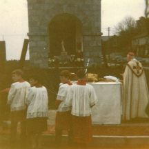 Corpus Christi Barnaderg at the grotto opposite Stone's Centra shop.  Note the original statue of the Blessed Virgin by Daithi Hanley.  The priest is Fr. Patrick Jennings | Photo by the late Phil Fahy, Carrowmanagh