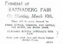 Ad for Barnaderg Fair in 1930s