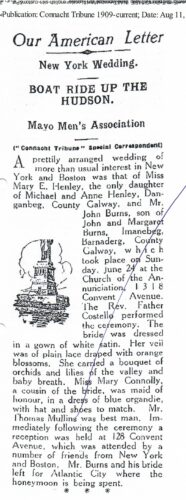 Newspaper cutting from Connacht Tribune re wedding in NY | Research: Killererin Heritage Society