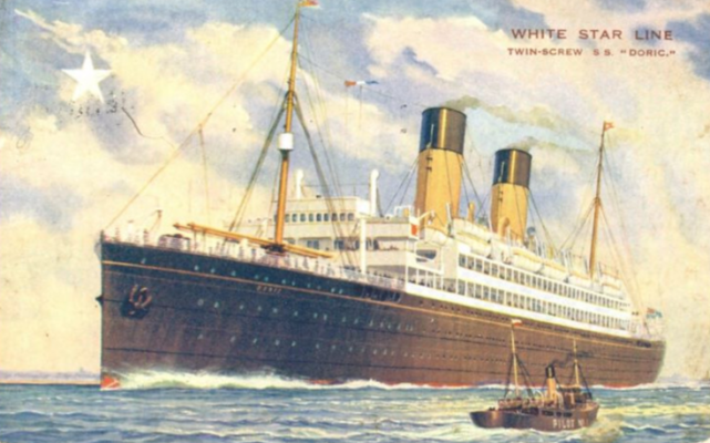 SS Doric on which Mary Cunnane from Barnaderg arrived in New York on 16th December 1924 aged just 21. She departed these shores from the port of Cobh in Cork. | Photo: https://www.flickr.com/photos/justderek/3079112574/