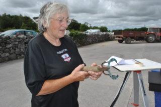 Patricia Mc Grath showing the Cannon branding iron