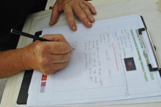 Patricia Mc Grath filling out the survey sheet. | Christy Cunniffe