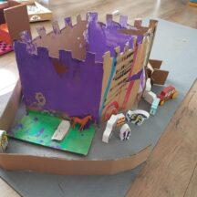 Cardboard castle, painted purple | Sé, Age 4