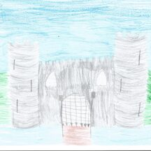 Beautiful drawing of a castle, with two round towers | Áine, Age 10