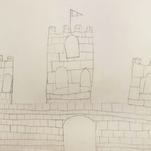 Stone Castle with three towers and big door to the front | Lucy, Age 7