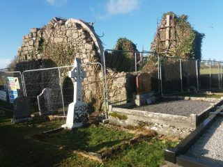 Looking north showing chancel arch exposed after removal of ivy | B. Doherty October 2020