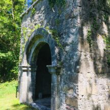 Arched doorway at Inchogoill, note the battered wall toward the base.   Antoinette Lydon