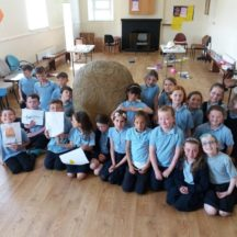 2nd Class Students with Turoe Stone Replica   B. Doherty 2018