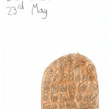 Turoe stone drawn and coloured brown showing La Tene Art   Eve Connolly, 2nd Class