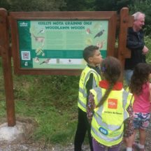 Children in Woodlawn Woods admirong the signage | B. Doherty 2018