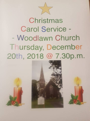 Christmas Carol Service, Woodlawn Church, Thursday December 20th at 7.30pm | Cathy Seale 2018