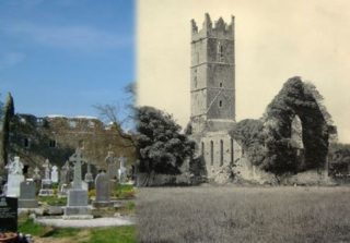 Claregalway Abbey 1800's vs present