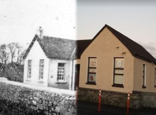 Claregalway National School early 1900's vs present