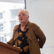 Chair of The Year of O'Flaherty Festival Committee, Mary O'Shea, addresses seminar | Seán Ó Mainnín