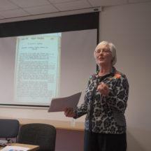 Dr. Bernadette Cunningham presenting to seminar at NUIG | Seán Ó Mainnín