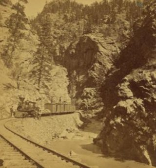 Silver Ore Train at Clear Creek Canyon Colorado circa 1868 | Photo Curtest The Miriam and Ira D. Wallach Division of Art, Prints and Photographs: Photography Collection, The New York Public Library. Silver ore train. Retrieved from https://digitalcollections.nypl.org/items/510d47e1-6460-a3d9-e040-e00a18064a99