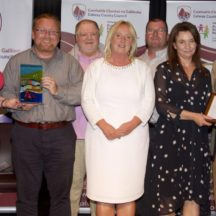 Pictured at the Cathaoirleach's Community Awards ceremony at The Theatre, Station House Hotel, Clifden were Best Contribution to Heritage Award Winning Group Moycullen Historical Society (Left to Right): Cathaoirleach Eileen Mannion, Mark McNally, Thomas Ó Cadhain, Hazel Morrison, Richard Long, Tara De Renzy, David Burke (Introducer of Award, Editor of the Tuam Herald) | Photo:-Mike Shaughnessy