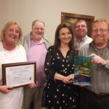 Moycullen Historical Society members Hazel Morrison (PRO), Tomas O'Cadhain (Vice Chairperson), Tara deRenzy, Richard Long and Mark McNally (Chairperson) | Moycullen Heritage