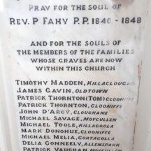 Memorial to Rev P Fahy at the Church of the Immaculate Conception Moycullen | Photo Moycullen Heritage
