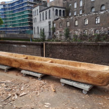 The finished replica Lee's Island Log boat ready for it's journey from Meitheal Mara Cork to Moycullen | Photo Credit:  Brian MacDomnhaill