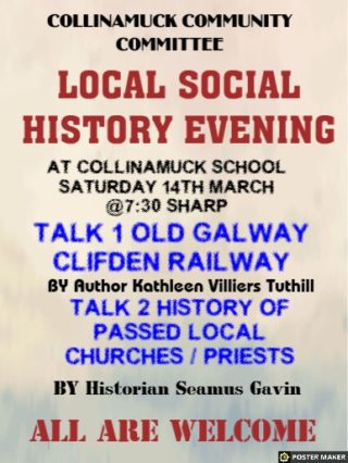 Ad Poster for Local Social History Evening | Collinamuck Community Committee