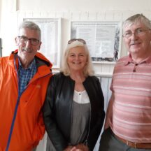 Award winning Belfast Journalist Noel Russell visits Moycullen Heritage while researching former Moycullen resident Patrick Devlin who led a memorable Army career. Noel Russell, May Molloy, Joe Loughnane. | Moycullen Heritage