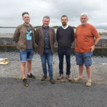 Pallasboy Project team Dr Ben Gearey, Mark Griffiths and Brian MacDomhnaill with diver Jimmy Lenehan link with Moycullen Heritage to launch replica Lee's Island Log boat | Moycullen Heritage