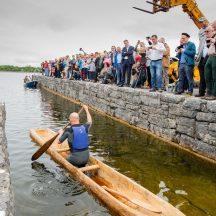 Kevin Cunningham tests the replica Lee's Island 5 Log Boat at Knockferry Pier | MyOptix