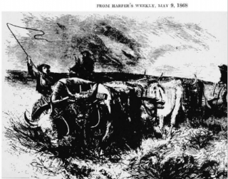 Breaking the Prairie Sod from Harpers Weekly, May 8, 1868 | Photo Credit: Harpers Weekly