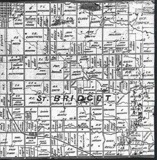 American townships, as here with St. Bridget, were 6 x 6 miles in size. Note the names of Irish landowners: Madden, Loob, Madigan, Reilly, Smith, Mulryan, Hughes, Shaughnessey, Sharpe, Fitzgerald among others.