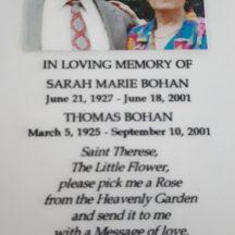 Mortuary Card of Thomas Bohan and Sarah Marie Bohan | Photo Courtesy of Tim Griffin