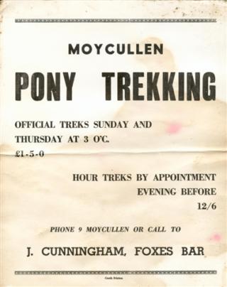 Advertisement for Moycullen Pony Trekking 1968. | Photo courtesy John Cunningham