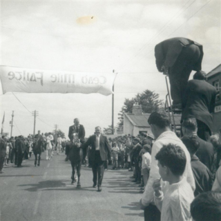 The opening of Moycullen Pony Trekking, 18 June 1967, with RTE Camera on the right.  The horse which belonged to the Lord Mayor of Galway, Brendan Holland, being led by Joe Cunningham. The rider was Mouse Morris, son of Lord Killanin who performed the opening ceremony. | Photo courtesy John Cunningham