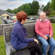 Bernie Higgins and Walter McDonagh having a chat on Ruaidhri 'Seat of Learning' Kilarainey | Moycullen Heritage