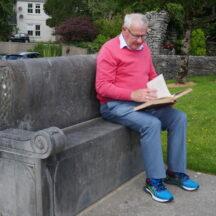Walter McDonagh reading from Ruaidhrí's Iar Connaught on Ruaidhrí's commemoration seat  | Moycullen Heritage