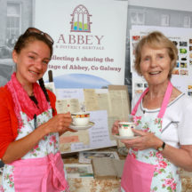 Therese Murphy and Frances Holohan from Abbey Heritage enjoying a cup of tea at their stand at the Sheep 2018 held at Teagasc, Athenry.