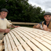 Maírtín Breathnach and Patrick Flaherty from Carraroe building their traditional Connemara boat at the Sheep 2018 held at Teagasc, Athenry.