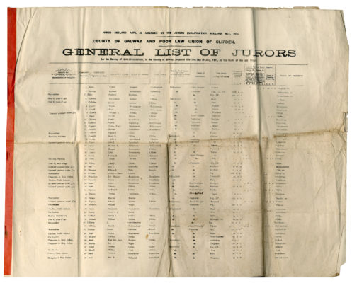 County Galway and Poor Law Union of Clifden. General List of Jurors