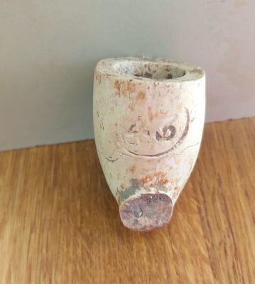 Part of a clay pipe found in Cloonoran, Moylough when digging the garden last week, with no. 43 stamped on front.   Joanie Mannion