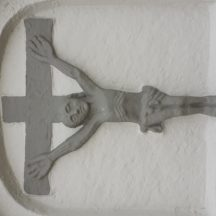Pre-Emanciparion crucifixion plaque on the gable of Glinsk Church | Photo: Christy Cunniffe