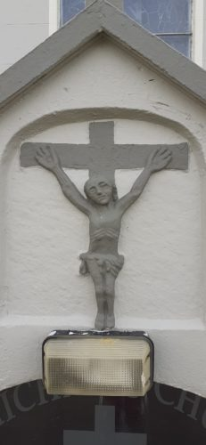 Pre-Emanciparion crucifixion plaque on the gable of Glinsk Church | Dr Christy Cunniffe