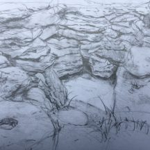 Pencil drawing of Tobar Einne on Inis Oirr | Selma Makela, July 2019
