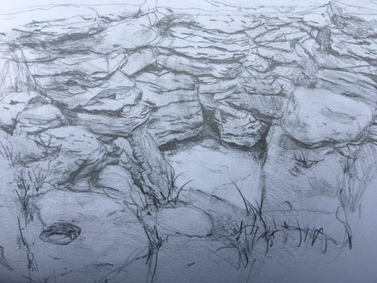 Pencil drawing of Tobar Einne on Inis Oirr   Selma Makela, July 2019