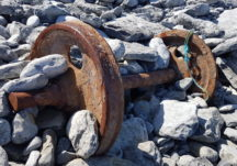 Two of the wheels of a railway tank which came ashore during WW2