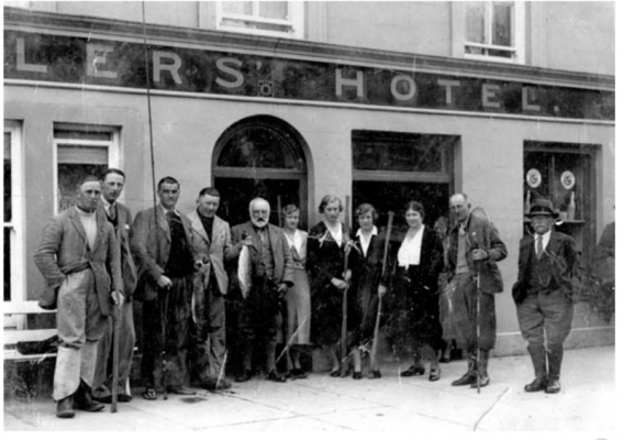 Anglers outside the Angler's Hotel | Oughterard Heritage
